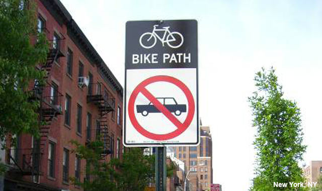9th Avenue cycle track signage, New York, NY