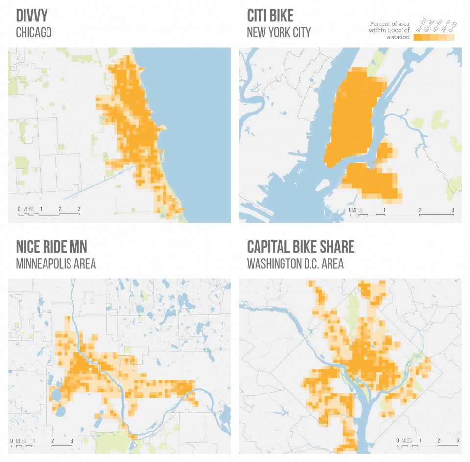 Walkable Bike Share - 4 maps