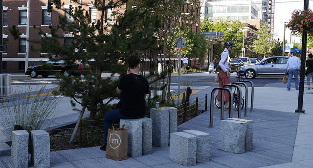 Recycled curbstone and pedestrian amenities, Bell Street, Seattle, WA