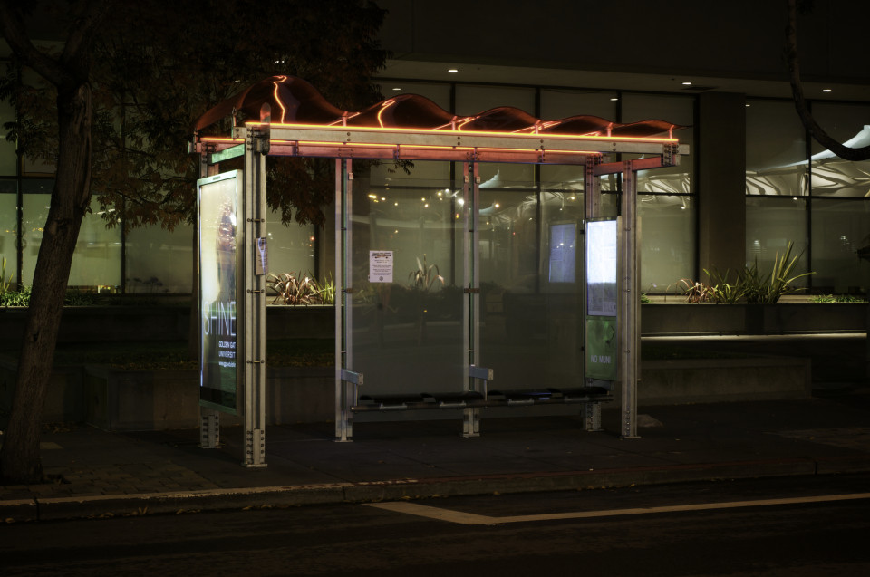 Shelter illuminated at night, San Francisco (credit: SFMTA)