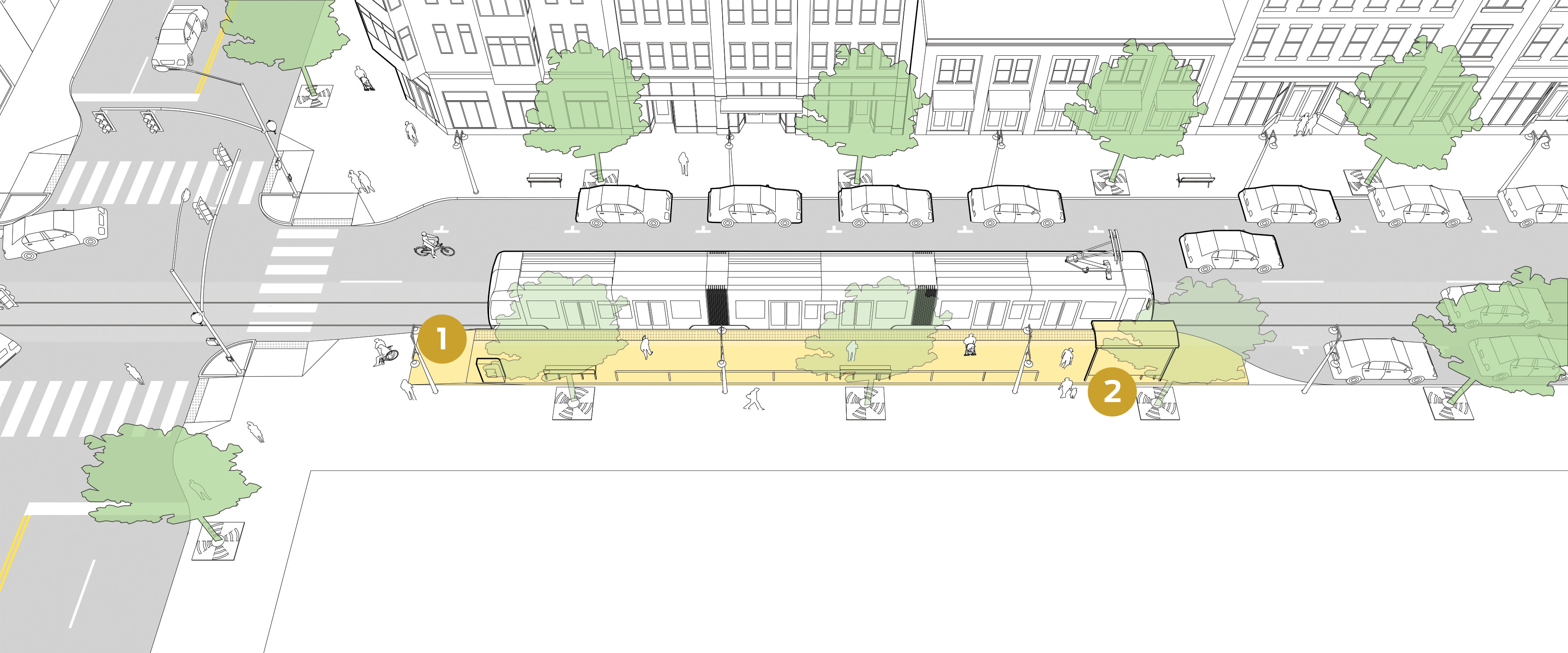 Level-board streetcar