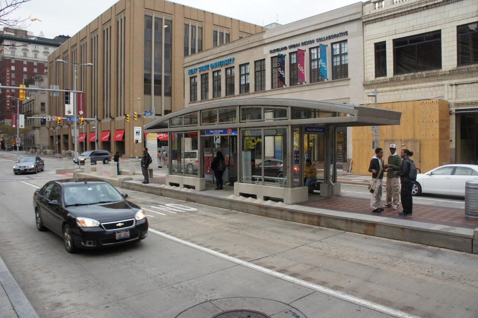 Healthline BRT station on Euclid Ave, Cleveland