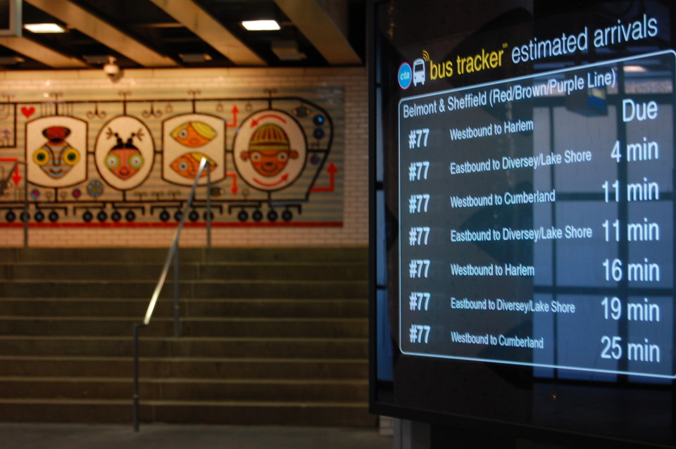 Real-time arrivals board, Chicago (credit: CDOT)