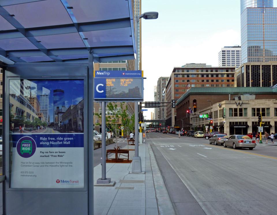 Marquette Ave. on-street terminal/bus lanes, Minneapolis