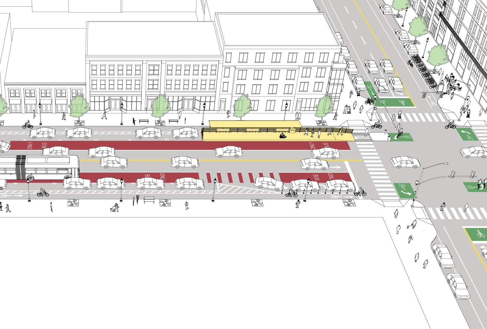 offset bus lane street
