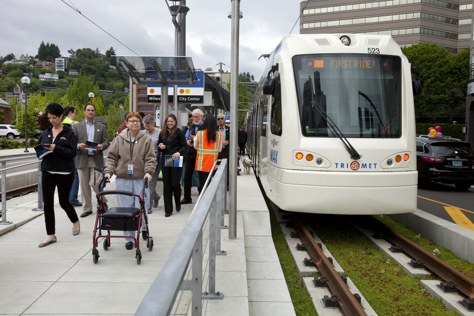 Green guideway on Orange Line MAX, Portland (credit: TriMet)