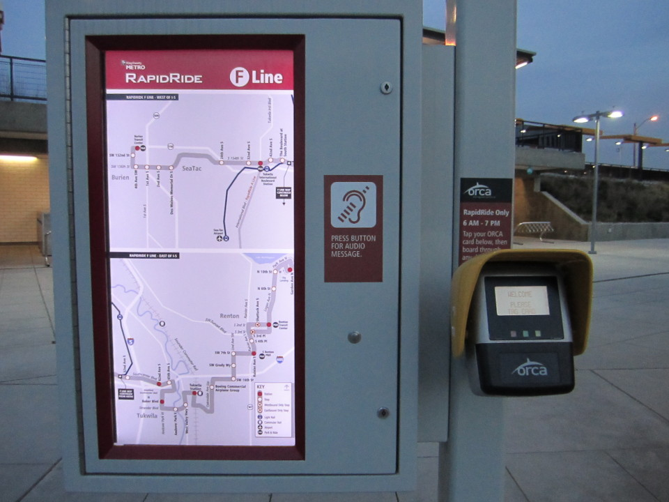 Rapid ride map and card reader, Seattle (credit: Flickr user SounderBruce)