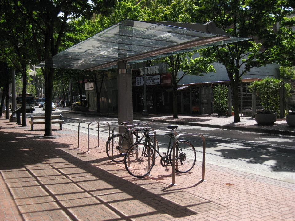 Covered bike racks, Portland (credit: Teresa Boyle)