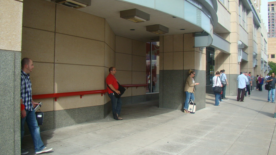 Shelter incorporated into Target headquarters building, Minneapolis (credit: Metro Transit)