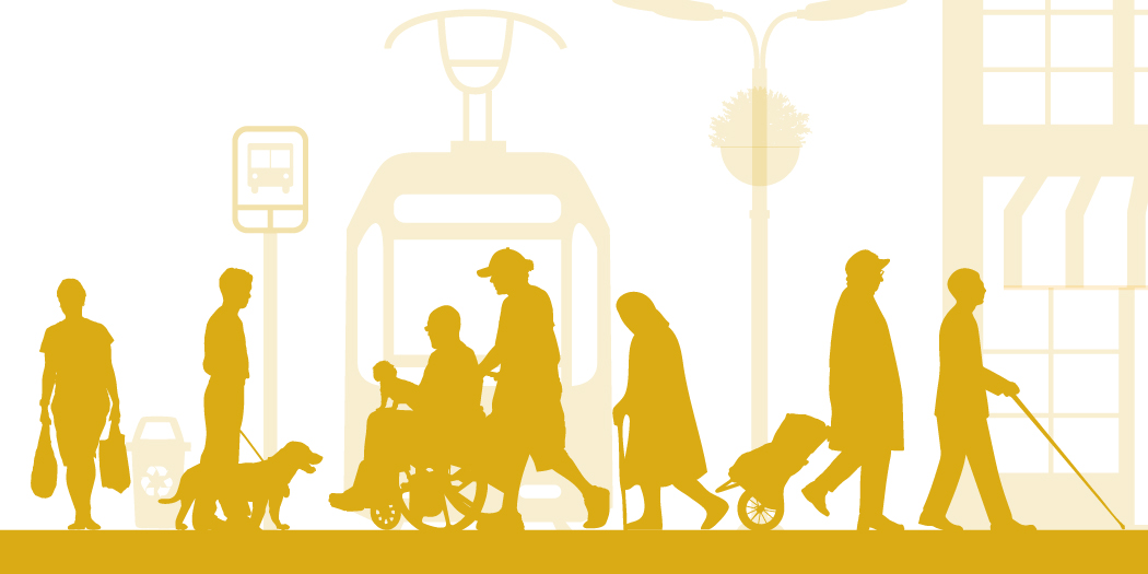 Image of disabled people representing universal design from the National Association of City Transportation Officials