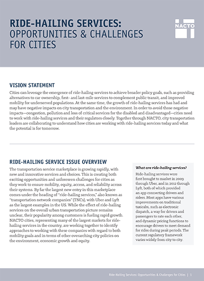 Ride Hailing Services: Opportunities & Challenges for Cities