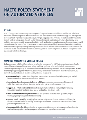 Nacto Policy Statement on Automated Vehicles