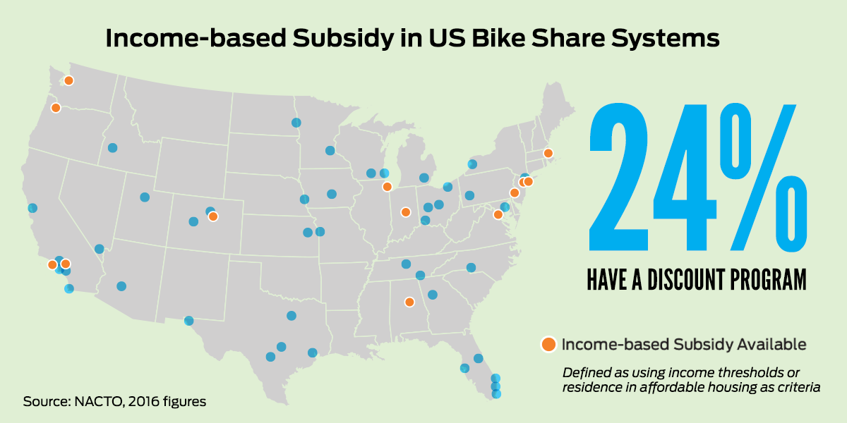 Map of Income-Based Subsidies in U.S. Bike Share Systems