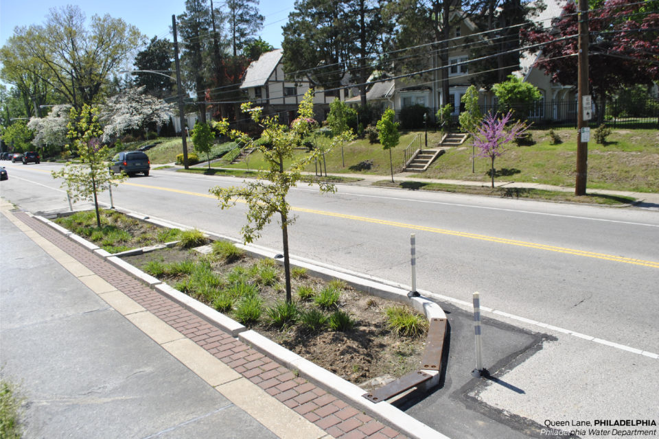 Retrofitting streets for stormwater national association for Furniture zone sidewalk