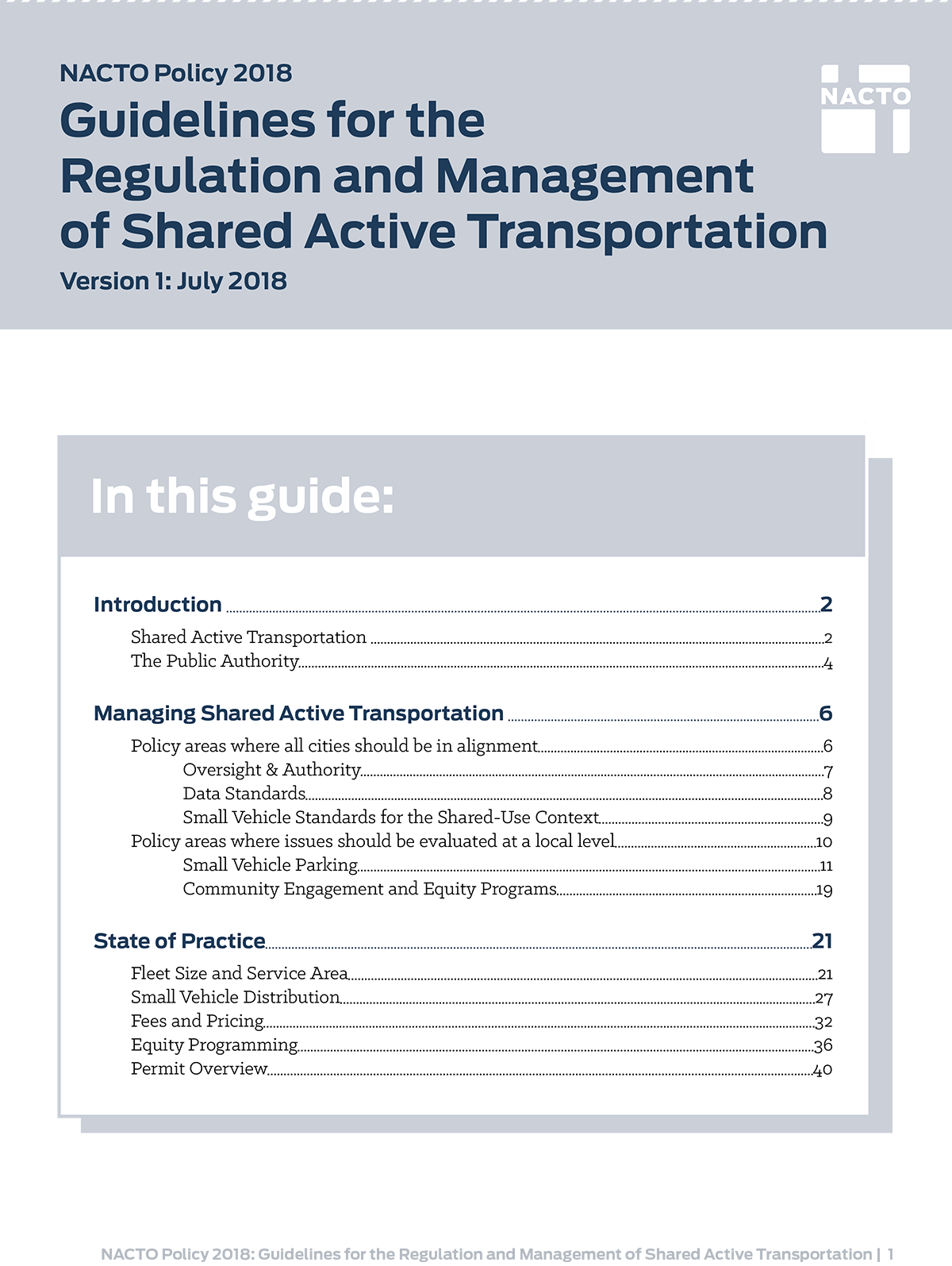 NACTO Guidelines for the Regulation and Management of Shared