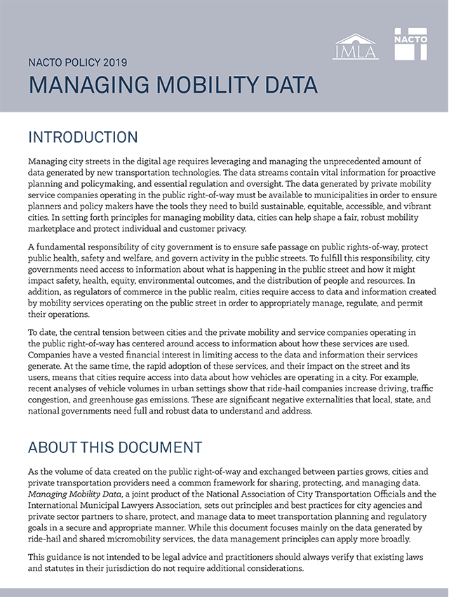 Cities Release Best Practices for Managing Mobility Data