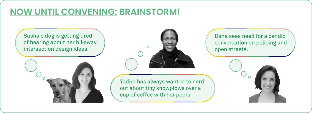 Now until the convening: Brainstorm ideas!