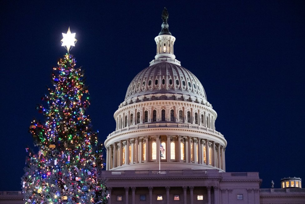 U.S. Capitol Lit With Holiday Lights