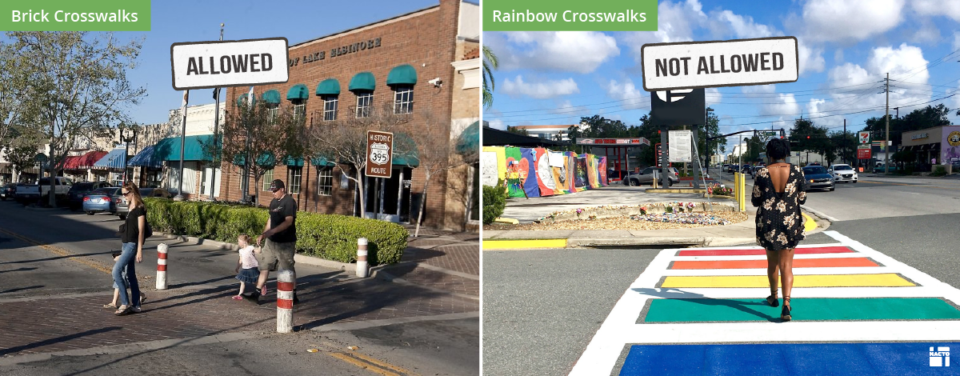 Side-by-side comparison of regulations in the MUTCD: Allowed - brick crosswalks. Not allowed - colorful, painted crosswalks (featured example is a rainbow crosswalk).