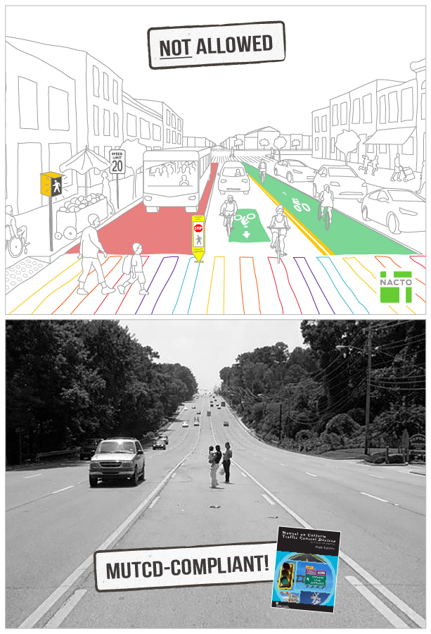 Comparison of two streets: one an illustration of a street restricted by the MUTCD (rainbow crosswalk, pedestrian signal, different types of bike facilities, red bus lanes); the other of a street permitted by the MUTCD (wide lanes, vehicles, no crosswalks or places for pedestrains)