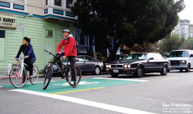 Bike Box - San Francisco, CAPhoto: Marc Caswell, San Francisco Bicycle Coalition