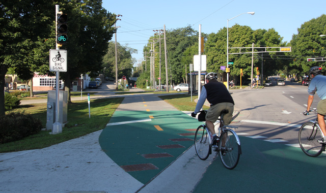 Intersection Marking at Bicycle Signal - Madison, WI