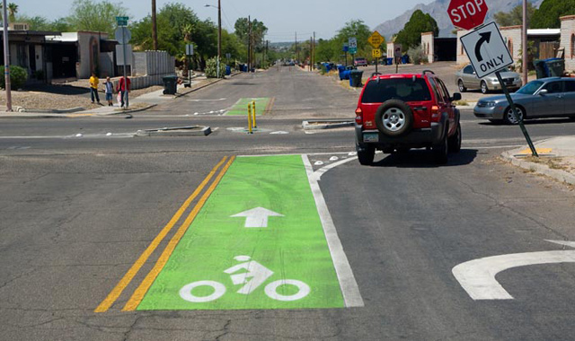 Colored Bicycle Lane - Tucson, AZCredit: tucsonvelo.com - Michael McKisson