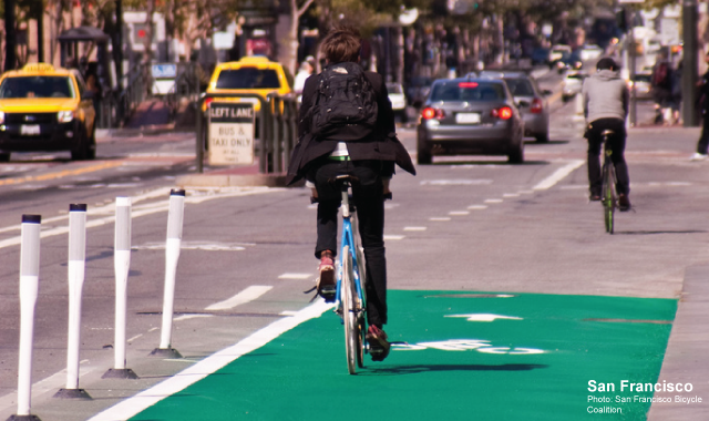 Colored Cycle Track - San FranciscoPhoto: San Francisco Bicycle Coalition