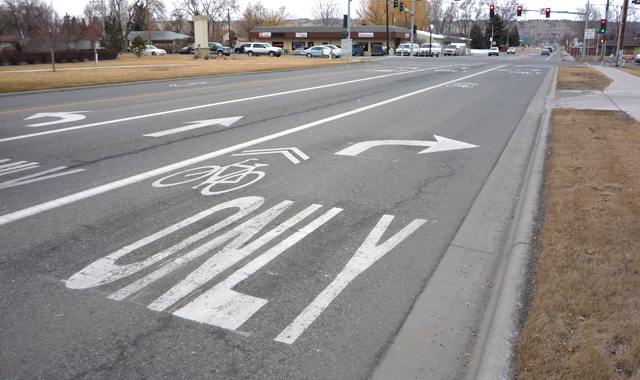 Combined Bike Lane/Turn Lane with Shared Lane Markings - Billings, MT