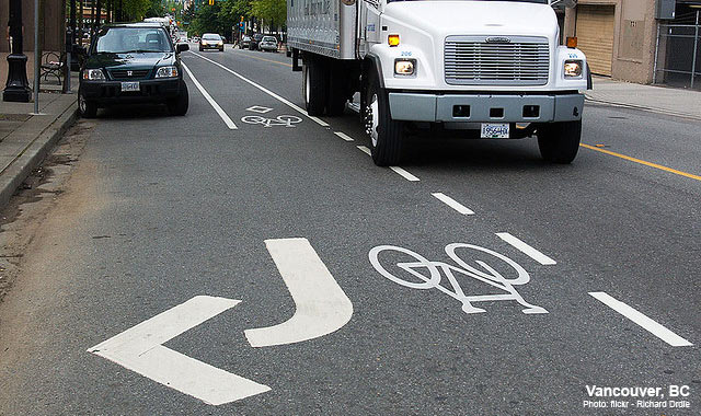 Combined Bike Lane / Turn Lane - Vancouver, BCPhoto: Richard Drdul
