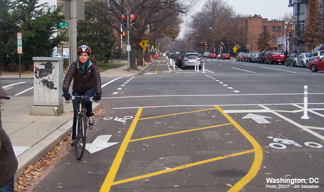 Cycle Track Intersection Approach - Washington, DCPhoto: Jim Sebastian, DDOT