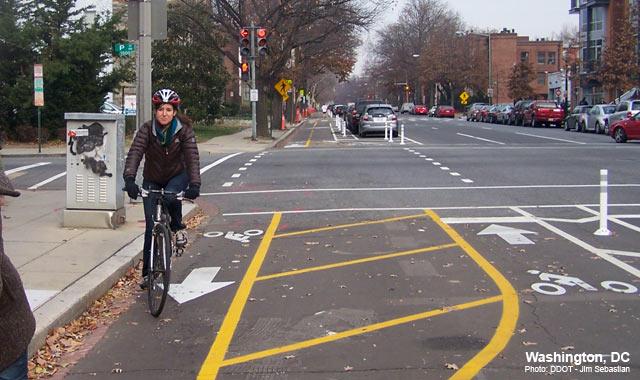 Cycle Track Intersection Approach - Washington, DCPhoto: Jim Sebastian, DDOT