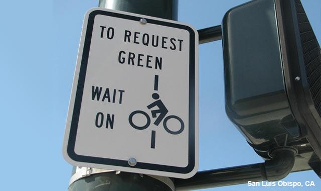 Bicycle Detection Instruction Sign - San Luis Obispo, CA