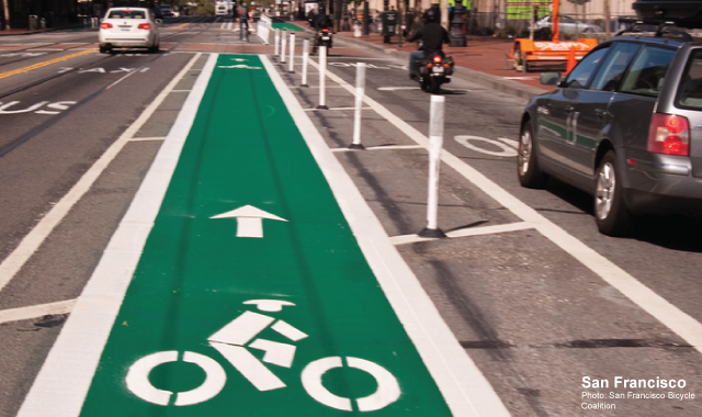 One Way Protected Cycle Track - San Francisco, CAPhoto: San Francisco Bicycle Coalition