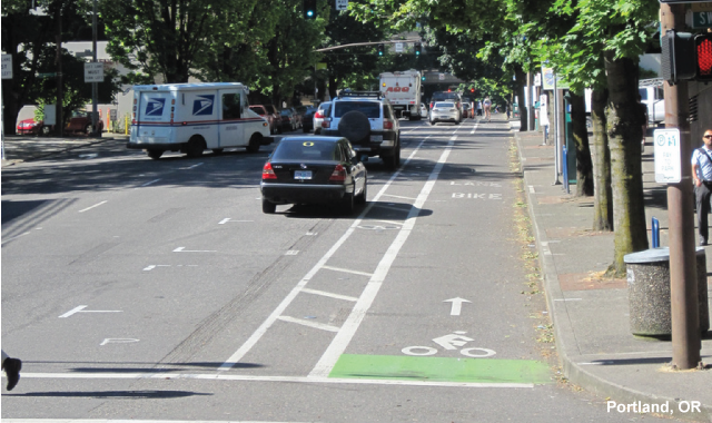 One Way Protected Cycle Track - Portland, OR