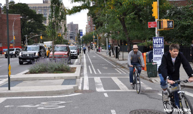 One Way Protected Cycle Track - New York City, NY