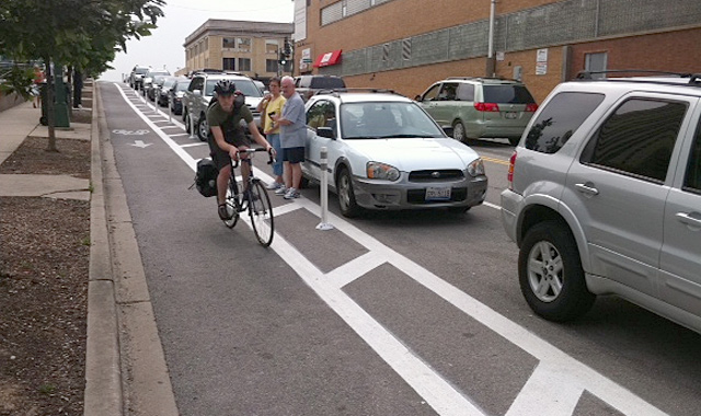 One Way Protected Cycle Track - Chicago, IL