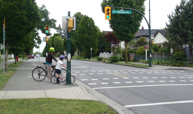 Raised Cycle Track Connection on Bicycle Boulevard - Vancouver, BC