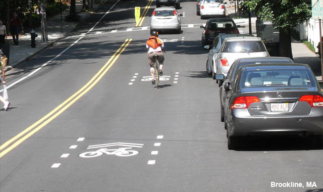Shared Lane Markings - Brookline, MA
