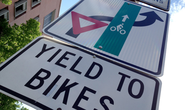 Yield To Bikes Sign at Through Bike Lane - Portland, OR