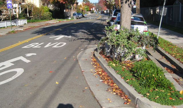 Chicane - Berkeley, CAThis Berkeley bicycle boulevard uses chicanes to horizontally deflect motor vehicles, lowering their speed.