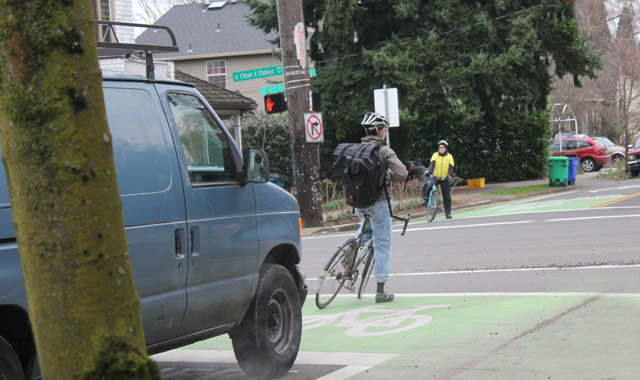 Bike Box - Portland, ORA pair of bike boxes on the Clinton Street Bicycle Boulevard allows bicyclists to move to the head of the queue at a signal.