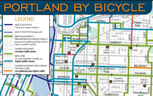 Bicycle Network - Portland, ORThe Portland bicycle network provides bicycle boulevards as an alternative to riding on high traffic streets.