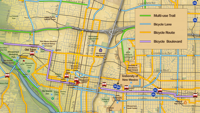 Bicycle Network - Albuquerque, NMA mix of signed bicycle routes, bicycle boulevards, bike lanes, and off-street paths make up Albuquerque\'s connected bikeway network.