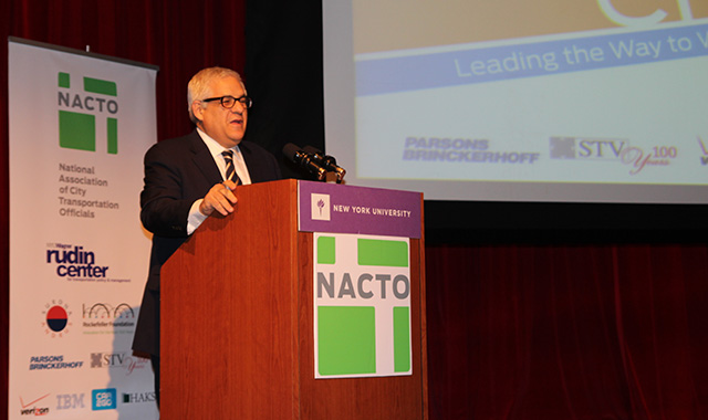 NYU Rudin Center for Transportation Director Mitchell Moss addresses conference participants