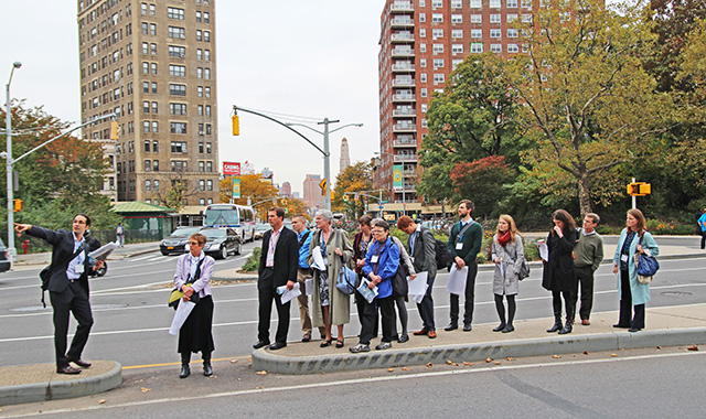 Ryan Russo, NYC DOT Assistant Commissioner for Traffic & Planning, leads a walkshop at Grand Army Plaza.