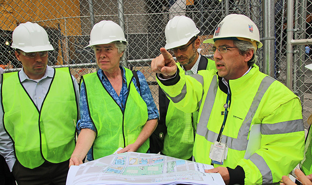 Port Authority officials lead an infrastructure tour of the World Trade Center.