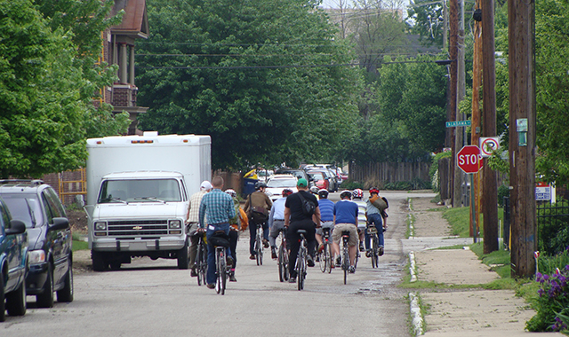 The team rides down a route planned for a future Bicycle Boulevard.