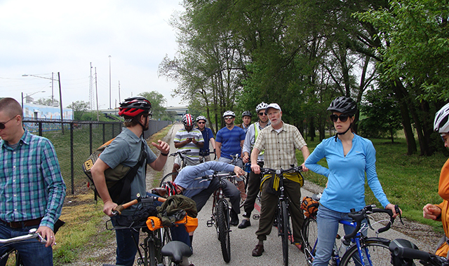 On May 10, project managers and NACTO guests took a ride on the Monon Trail to visit potential key connections to the greenway.