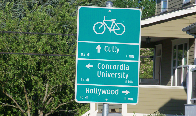 Wayfinding Sign – Portland, ORWayfinding signs along the Going Street Neighborhood Greenway identify the distance to key destinations and neighborhoods and provide estimated bicycling travel times.